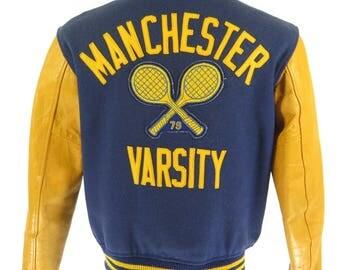 Vintage 70s Varsity Leather Jacket Mens M Tennis Wool Letterman Chenille Patches [H15D_3-2]