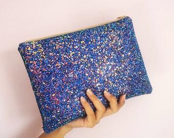 Royal Blue Glitter Clutch Bag, Sparkly Blue Large Evening Bag, Royal Blue Party Bag, Rose Gold Glitter, Royal Blue Clutch,