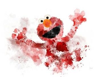 Elmo inspired ART PRINT illustration, Sesame Street, Muppet, TV, Wall Art, Home Decor