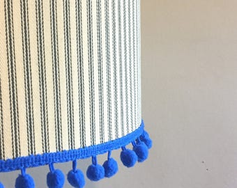 Charcoal Ticking Lampshade with Blue pom pom trim - Drum lampshade for use as ceiling lampshade, table lamp or floor lamp,
