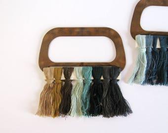 Pair of Vintage Purse Handles - Plastic Wood Handles - Fiber Art Craft Supplies - Macramé Hanger - Mid Century Fashion - Wood Wall Decor