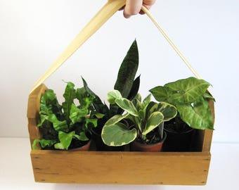 Vintage Wood Tool Box with Webbing Handle - Garden Tool Box - Wood Planter Box - Portable Storage Box - Industrial Decor - Tool Organizer