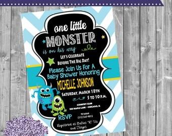 Monsters Baby Shower Invitation - Monster Baby Shower Invite - Monster Chevron - Monsters Chalkboard - Baby Sprinkle - Monster - Monsters