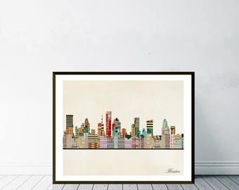 houston texas skyline.houston city skyline.houston cityscape.colorful pop art skylines for home decor. Giclee art print.color your world