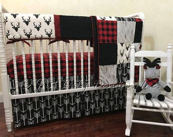 Baby Boy Bedding Set Adrian -  Deer Baby Bedding, Red Buffalo Check Plaid, Black Arrows, Crib Rail Cover, Red & Black Woodland Crib Bedding