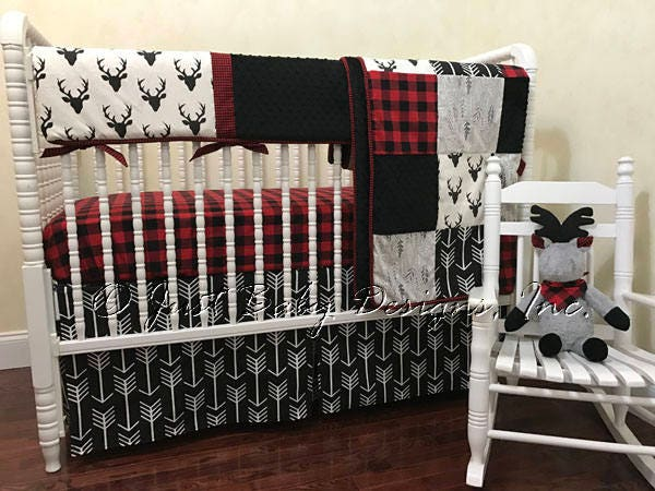 Black And White And Red Crib Bedding