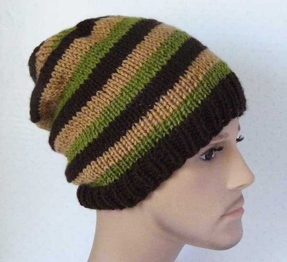 Knitting PATTERN Knit Slouchy Beanie Pattern Mens Knit Hats