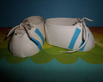 Vintage Cabbage Patch Kids Doll White & BLUE Stripe Lace Up Tennis Shoes Coleco