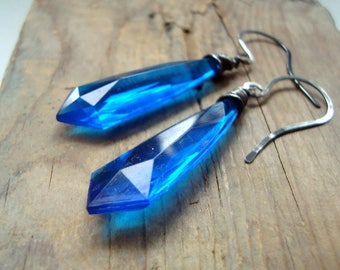 Bright Blue Lucite Drop Earrings Sterling Wire Wrapped Statement Jewelry Geometric Jewelry September Birthstone Gifts For Her Under 40