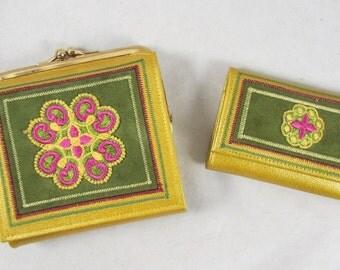 Princess Gardner Wallet and Key Holder Set Suede Leather Vintage