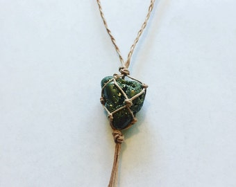 Pyrite Hemp Wrapped Necklace