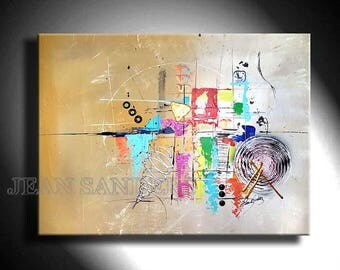 "31"" x 24"" abstract modern colorful art painting by Jean Sanders - stretched on wooden frame"