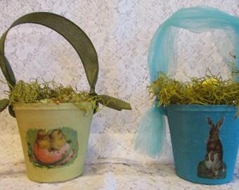 Easter Basket Peat Pot Chicks Moss Easter Eggs Yellow Robin's Egg Blue Easter Decoration Tulle Ribbon