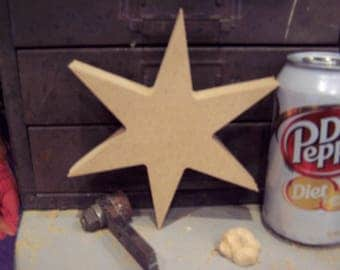 """Six point 7"""" Star Chicago Flag Star 3/4"""" thick"""