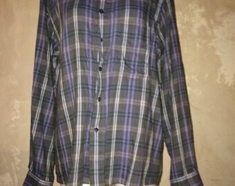 Grunge shirt vtg 90s gray blue size M womens