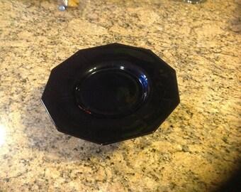 Black glass pedestal cake plate