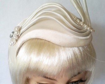 Ivory Satin Headpiece. OOAK