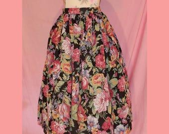 80s does 50s high waisted tea length floral circle skirt