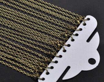 """12 pcs, 30"""" Antique Brass Chain Necklaces, 30 inch bronze necklace, wholesale lot, link size 4.5x3mm, USA"""