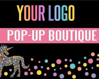 Lularoe Yard sign - POP UP BOUTIQUE YARd sign,Unicorn boutique,  banner - White or Black! - Instant Digital Download