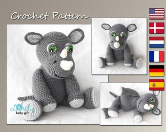 Amigurumi Pattern, Rhino Crochet Pattern, Animal, CP-143