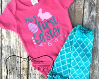 Girl's Easter Outfit My First Easter Egg Hunt Baby's First Easter Bunny T-Shirt Easter T-Shirt Baby Easter Outfit First Easter Bodysuit