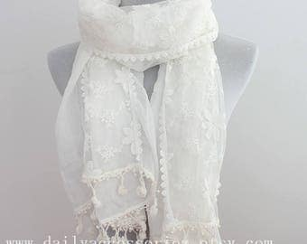 White Lace Scarf, White Scarf Lace, Gift For Her, Wedding Wrap, Bridesmaid Wrap, Bridesmaid Scarf, For Her, For Women, Gift Idea