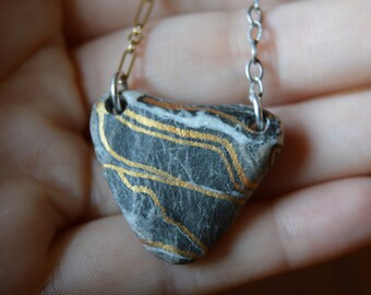 Handmade Golden-painted Stone Necklace - Sterling Silver & Gold-filled
