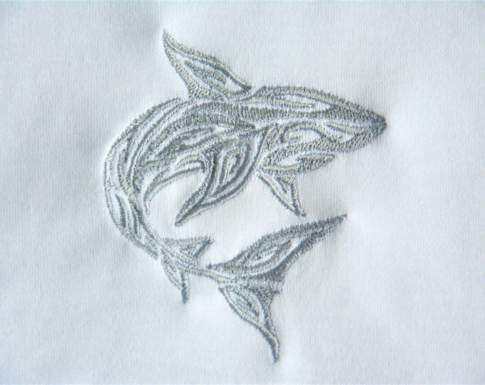 Sleeveless Bodysuit - 3 - 6 Months -  Machine Embroidered Silver Shark