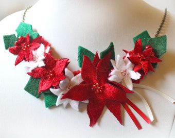 Poinsettia Necklace, Christmas Necklace with White and Red Poinsettia, Holly Leaves & Red Berries, Fabric Flowers, Festive Fashion Jewelry