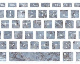 Grey-Blue Marble Pattern Macbook Keyboard Decal Stickers