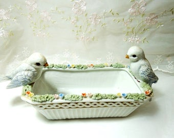Vintage Enesco White Dish with Birds, with Floral Design, Made in Mexico, Pattern E8737