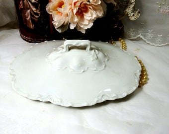 Antique 1800's, Lid for Oval Vegetable Bowl, Ranson by Haviland, All White
