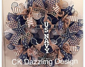 US Navy Deco Mesh Wreath/Military Wreath/Navy Wreath/Navy Blue Deco Mesh Wreath/Star Fish Wreath