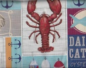 Lobster Clambake theme summer tablecloth, seafood, oyster, crab, coastal beach party vinyl flannel back 52 x 70