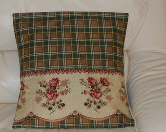 Burgundy Roses on Beige with Brown Plaid Cushion Cover Handmade by Bronwyn Free Post