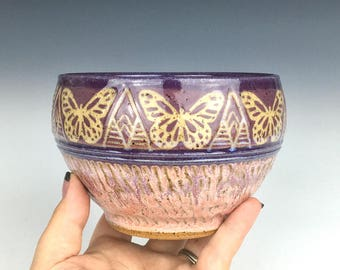 ceramic cereal bowl, ceramic prep bowl, purple stoneware bowl, maroon butterfly, sgraffito pottery