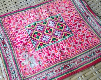 Ethnic embroidered Pink Hilltribe Hmong Textile Vintage Tribal Fabric Crafts supplies