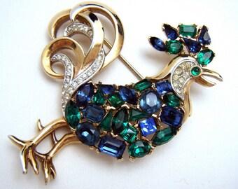 Ultra Rare Crown Trifari Jeweled Symphony Rhinestone Rooster Bird Brooch Pat Pend