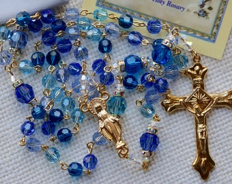 Catholic Swarovski Madonna Blues Rosary in Gold