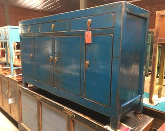 Antique Chinese Storage Credenza in Lacquered Cobalt Blue (Los Angeles)