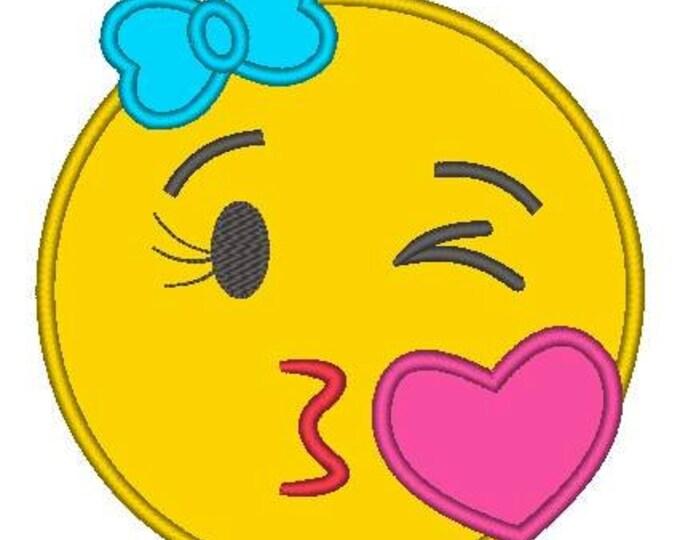 SAMPLE SALE, Kissy Face Emoji Embroidered Shirt - Emoji Birthday - Emoji Birthday Shirt - Emoji Party - Emoji Movie