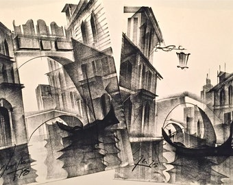 Vintage Original Mid Century Modern Cubist Gothic Dark Charcoal Drawings Venice Italy Gondolas Venice Canals TWO AVAILABLE