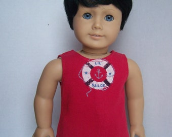 Red Lil Sailor Up-Cycled OOAK Tank Top - Fits 18 inch Girl and Boy dolls