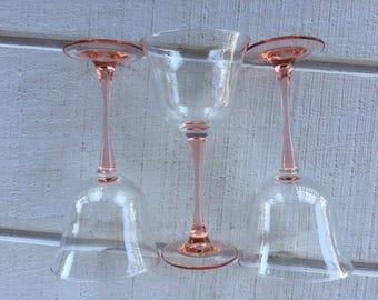 vintage Pink stemmed Water Goblets, Americana Rose Cristal D Arques crystal glasses, vintage stemware, pink wine glasses, wedding toasting