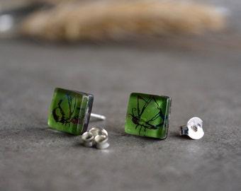 Butterfly earrings, Square earrings, Green earrings, Sterling silver and glass studs, Unique earrings, Art jewelry, Fused glass jewelry