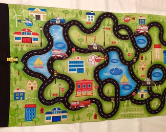 Toy Car Roll Up Play Mat, Toy Car Fold Up Play Mat, Car Playmat,Travel toy car roll up play mat