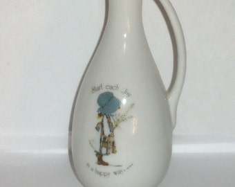 Holly Hobbie Japan 1976 Miniature Porcelain Bud Vase Ewer with Start Each Day in a Happy Way