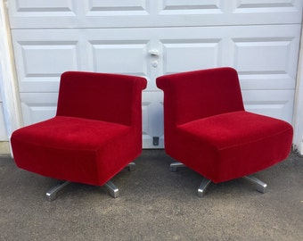 Pair Modern Swivel Slipper Chairs by Gunlocke