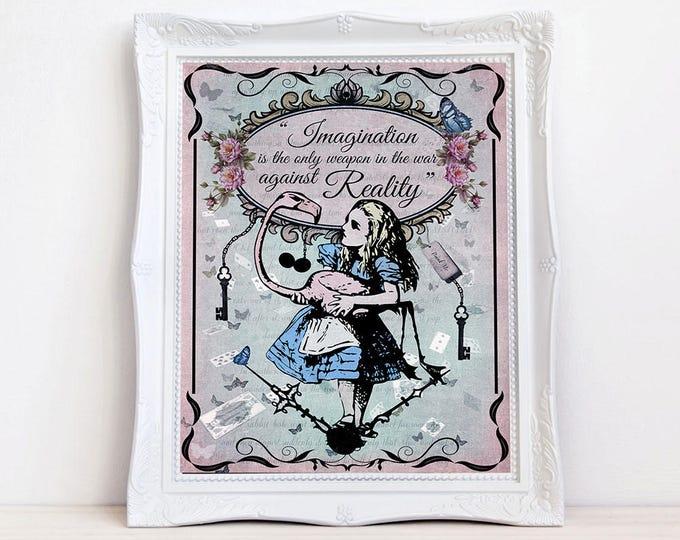 Vintage style Alice in Wonderland print